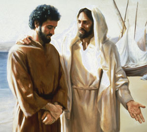 Christ taking to a man with his hand outstretched, teaching.