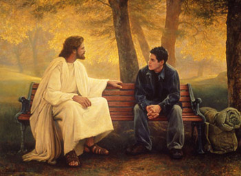 Christ talking to a teenager on a bench.